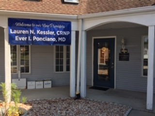 Welcome sign for Dr. Ever Ponciano and Lauren Kessler, CRNP